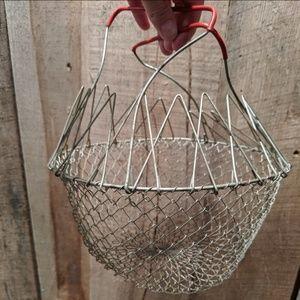 Farmhouse vintage collapsible egg basket